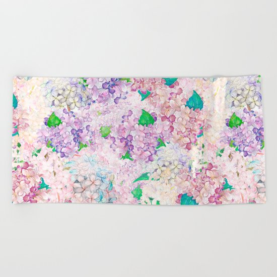 Pastel Purple and blue Lilac & Hydrangea - Flower Design Beach Towel