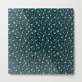 Leopard animal print trend abstract minimal spots panther cat Green Pink Black Metal Print