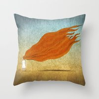 redhead Throw Pillows featuring Redhead by Mild Visualitis