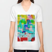 glitch V-neck T-shirts featuring Glitch 002 by Karolis Butenas