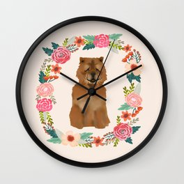 chowchow dog floral wreath dog gifts pet portraits Wall Clock