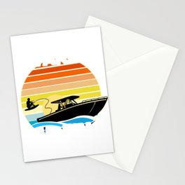 Retro Wake Surfing Gift Print Vintage Boat Lake Wakesurfing Print Stationery Cards