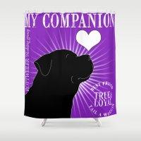 rottweiler Shower Curtains featuring ROTTWEILER – My Companion - Purple by TRArtStudios
