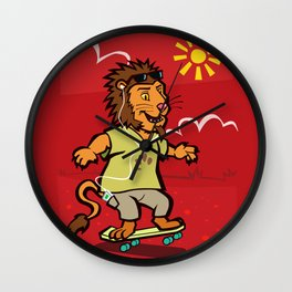 skateboarding Lion Wall Clock