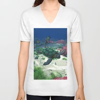 sea turtle V-neck T-shirts featuring Sea Turtle by Simone Gatterwe
