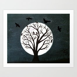 Peaceful Moon Night Gathering Art Print