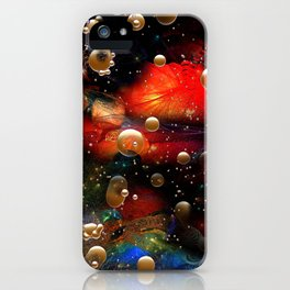 Cosmic Abstract with Golden Rain iPhone Case