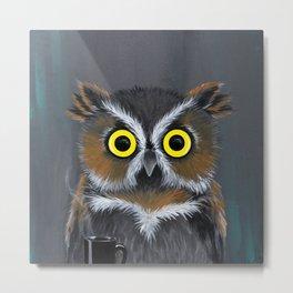 Caffeine Owl Metal Print