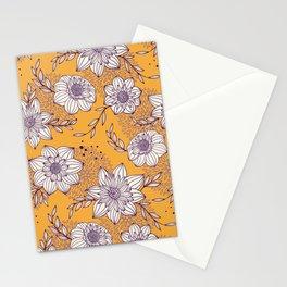 Dahlia Flowers - Orange and Purple Stationery Cards