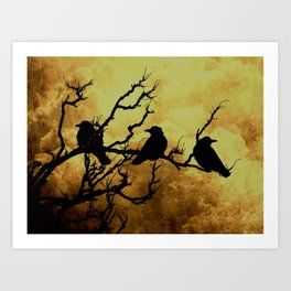 Crows on Branch Against Stormy Sky A522 Art Print