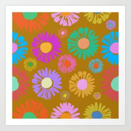 Pop Art Daisies Gold Art Print