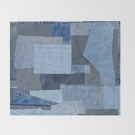 Boroboro Blue Jean Japanese Boro Inspired Patchwork Shibori Throw Blanket