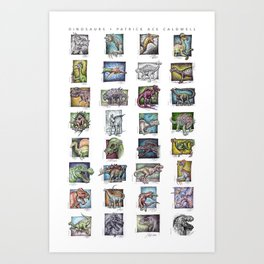 Dinosaurs Compilation Art Print