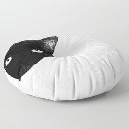 Corner Black Cat Peeking Floor Pillow