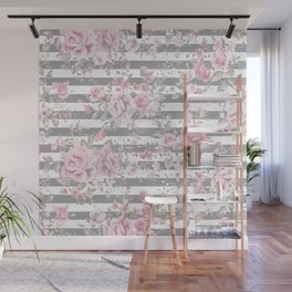 FLORAL PINK ROSES GRAY STRIPES Wall Mural