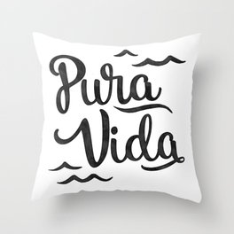 Pura Vida Costa Rica Waves in Black Throw Pillow