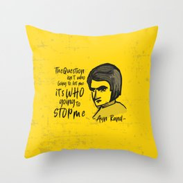 Ayn Rand Illustration Throw Pillow