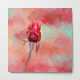 Red Rose In Spring Metal Print
