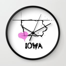 Love Iowa State Sketch USA Black Art Tees Wall Clock