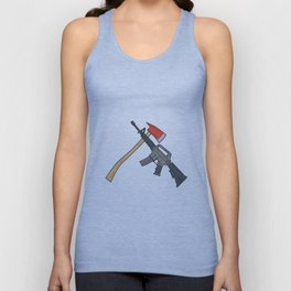 Crossed Fire Ax and M4 Carbine Rifle Drawing Unisex Tank Top