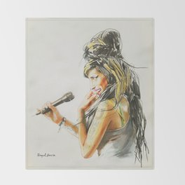 Winehouse Portrait 2 Throw Blanket