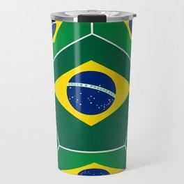 Soccer ball with Brazilian flag Travel Mug