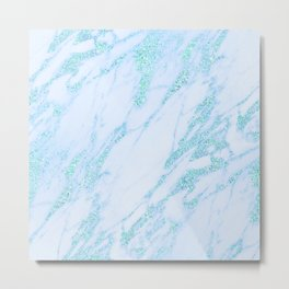 Turquoise Marble - Shimmery Glittery Turquoise Blue Teal Green Marble Metallic Metal Print