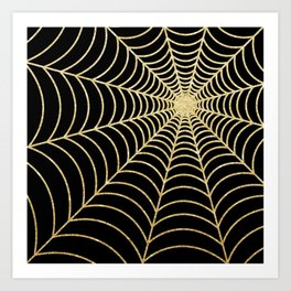 Spiderweb | Gold Glitter Art Print