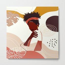 Black Woman Illustration Art, Portrait Print, Black Girl Wall Art, African American Woman Art Metal Print