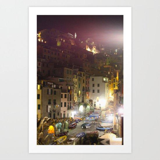 Cinque Terre: Riomaggiore at Night Art Print