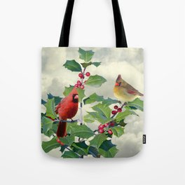 Cardinals on Tree Top Tote Bag