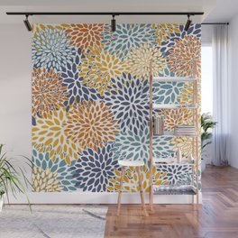 Floral Blooms, Blue, Teal, Orange, Yellow Wall Mural