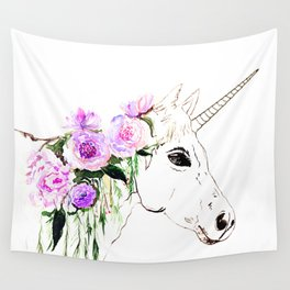 Unicorn with purple flowers Wall Tapestry