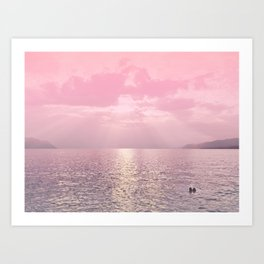 Kiss In The Lake - Pink Landscape Photography Art Print