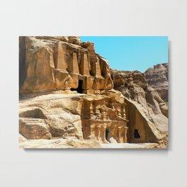 Sandstone Tombs of Petra Rose City Metal Print