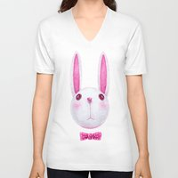 rabbit V-neck T-shirts featuring Rabbit by Lime