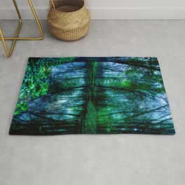 Enchanted Forest Lake Green Blue Rug
