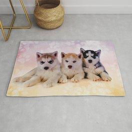 Siberian Husky Puppies Rug