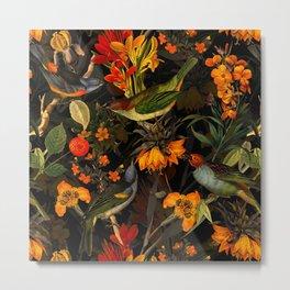 Vintage & Shabby Chic - Midnight Tropical Bird Garden Metal Print
