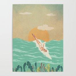 Girl Dive Vintage Poster