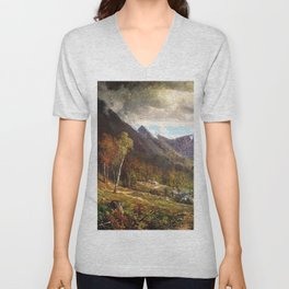 Crawford Notch 1872 By Thomas Hill   Reproduction Unisex V-Neck