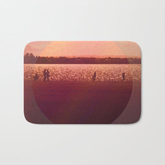 Vintage Coral Sunset, Winter Beach Bath Mat