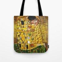 gustav klimt Tote Bags featuring My Klimt by Müge Başak