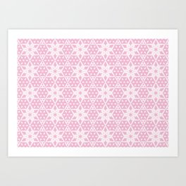 Stars and Hexagons Pattern - Pearly Pink Art Print