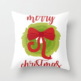 Merry Christmas Bow Wreath Print Throw Pillow
