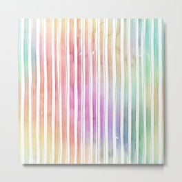 Bright Pastel Watercolor Stripes and Lines Metal Print