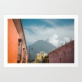 Colorful streets of Antigua Guatemala with volcano views of Volcan de Agua Art Print