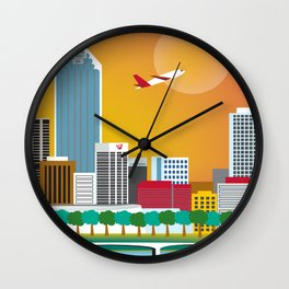 Perth, Australia - Skyline Illustration by Loose Petals Wall Clock