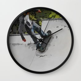 Up the Ramp  - Skateboarder Wall Clock