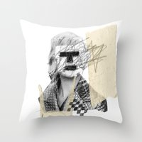 kate moss Throw Pillows featuring Kate Moss by FAMOUS WHEN DEAD